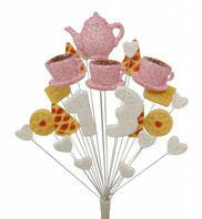 Afternoon tea 13th birthday cake topper decoration in pale pink and white - free postage